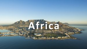 aerial shot of south africa - a major a shipping location for world cargo
