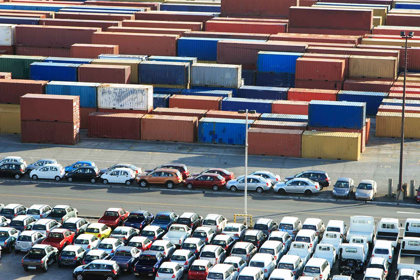 cars at port waiting to be loaded for shipment