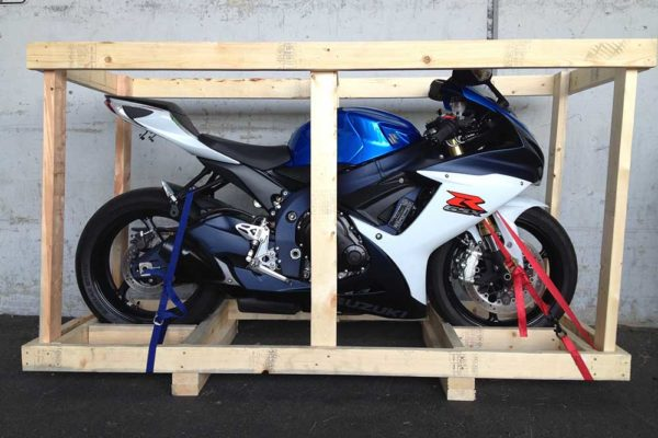 crated motorcycle ready for shipment