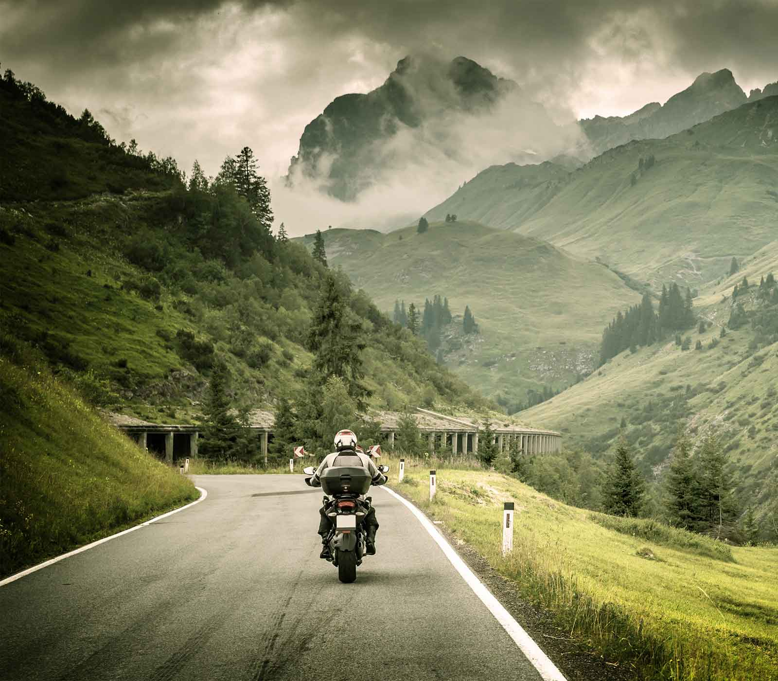 motorcycle in transit in the mountains