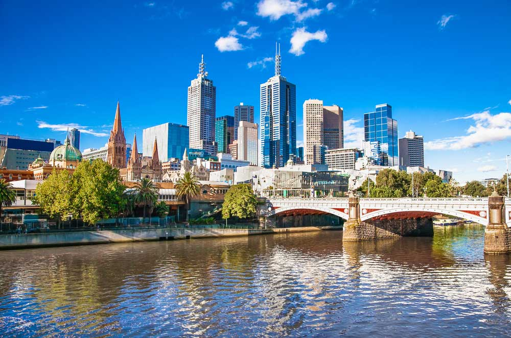 shot of melbourne during the day from the river